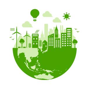 エコ・エコロジー・自然・環境保護に配慮した都市生活イメージ 円形バナーイラストのイラスト素材 [FYI04681452]