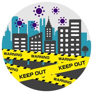 都市封鎖・パンデミック イメージ円形バナーイラスト / 新型コロナウイルス (COVID-19)のイラスト素材 [FYI04681455]