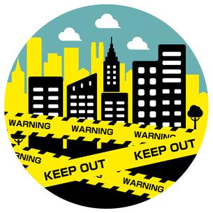 都市封鎖・パンデミック イメージ円形バナーイラスト / 新型コロナウイルス (COVID-19)のイラスト素材 [FYI04681461]