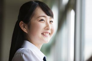 教室から外を眺める女子高生の写真素材 [FYI04681536]