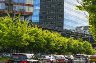 ニューヨーク市 ロングアイランドシティー クイーンズボロープラザの高層ビル群と新緑と交通渋滞。の写真素材 [FYI04682071]