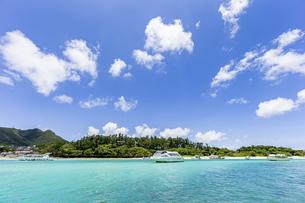 エメラルドグリーンと青い空が広がる川平湾の夏の絶景の写真素材 [FYI04682261]