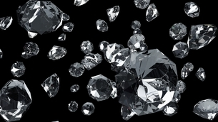 Diamonds on black background. 3d illustration for background.の写真素材 [FYI04682329]