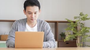 自宅でパソコンを使う男性の写真素材 [FYI04682333]