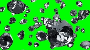 Diamonds on green chroma key. 3d illustration for background.のイラスト素材 [FYI04682476]