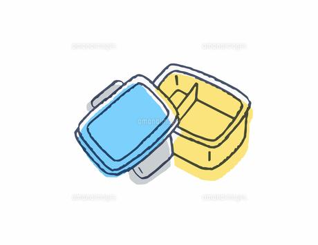 蓋の開いたお弁当箱のイラスト素材 [FYI04682501]