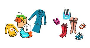 複数の衣類と靴のイラスト素材 [FYI04682529]