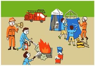 消防隊 避難訓練のイラスト素材 [FYI04682540]