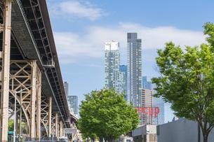 クイーンズ ボローブリッジ橋脚横の新緑越しにそびえ立つニューヨーク市 クイーンズ ロングアイランドシティー クイーンズボロープラザの新興高層ビル群。の写真素材 [FYI04682600]