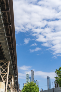 クイーンズ ボローブリッジ橋脚横の新緑越しにそびえ立つニューヨーク市 クイーンズ ロングアイランドシティー クイーンズボロープラザの新興高層ビル群。の写真素材 [FYI04682602]