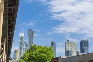 クイーンズ ボローブリッジ橋脚横の新緑越しにそびえ立つニューヨーク市 クイーンズ ロングアイランドシティー クイーンズボロープラザの新興高層ビル群。の写真素材 [FYI04682607]