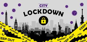 都市ロックダウン・都市封鎖(新型コロナウイルス・Covid19) バナーイラストのイラスト素材 [FYI04682721]