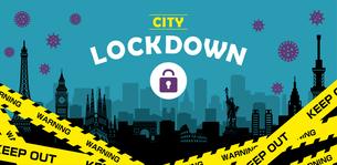 都市ロックダウン・都市封鎖(新型コロナウイルス・Covid19) バナーイラストのイラスト素材 [FYI04682722]