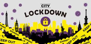都市ロックダウン・都市封鎖(新型コロナウイルス・Covid19) バナーイラストのイラスト素材 [FYI04682723]