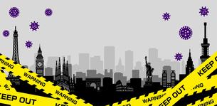 都市ロックダウン・都市封鎖(新型コロナウイルス・Covid19) バナーイラストのイラスト素材 [FYI04682724]
