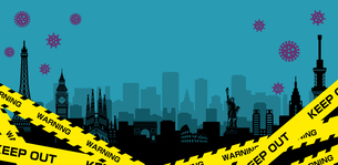 都市ロックダウン・都市封鎖(新型コロナウイルス・Covid19) バナーイラストのイラスト素材 [FYI04682725]