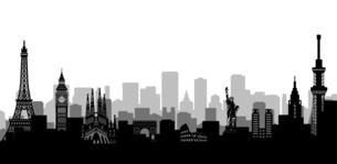 世界の有名な建築物・世界遺産・ランドマーク 横並び風景イラストのイラスト素材 [FYI04682727]
