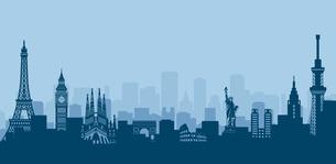 世界の有名な建築物・世界遺産・ランドマーク 横並び風景イラストのイラスト素材 [FYI04682728]