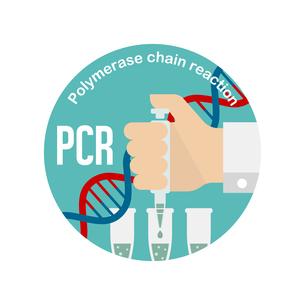 PCR検査 円形バナーイラスト / 新型コロナウイルス , Covid-19のイラスト素材 [FYI04682743]