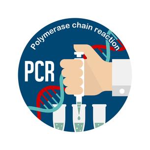PCR検査 円形バナーイラスト / 新型コロナウイルス , Covid-19のイラスト素材 [FYI04682745]