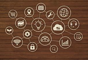 木目調背景バナー / テクノロジー・IT・インスピレーション・ビジネスイメージのイラスト素材 [FYI04682774]
