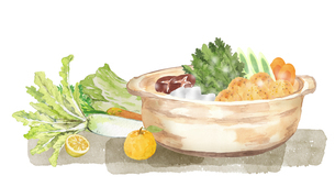鍋料理と野菜 水彩イラストのイラスト素材 [FYI04682846]
