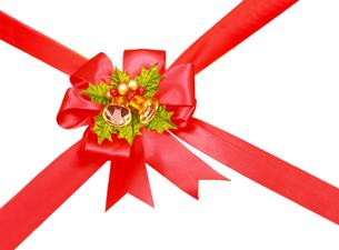 赤色のクリスマスリボンの写真素材 [FYI04682895]