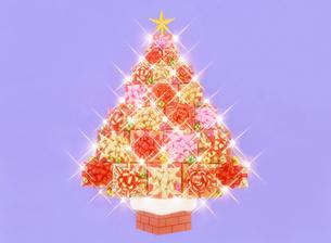 プレゼントのクリスマスツリーと電飾の写真素材 [FYI04682913]