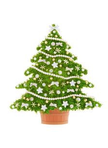銀色のリボンのクリスマスツリーの写真素材 [FYI04682919]