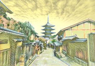 京都 五重塔への古路地のイラスト素材 [FYI04683323]