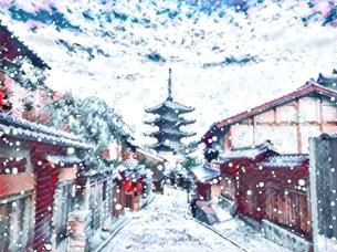 冬の京都のイラスト素材 [FYI04683324]