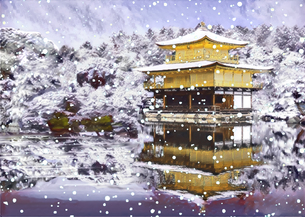 冬の金閣寺のイラスト素材 [FYI04683325]