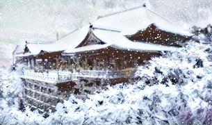 清水寺の雪のイラスト素材 [FYI04683326]
