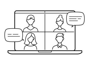 ビジネスイラストのテレビ会議  テレワークイメージのイラスト素材 [FYI04683394]