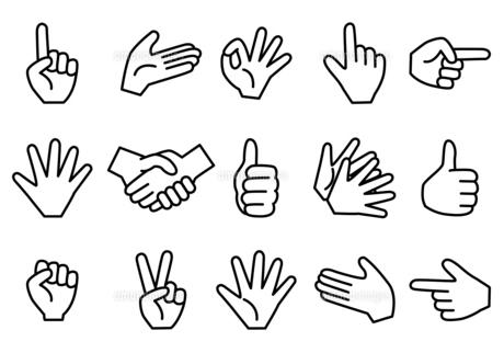 シンプルな線画のハンドサイン イラストセット のイラスト素材 [FYI04684225]