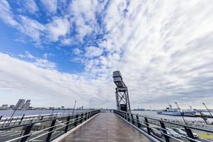 新港ふ頭に立つ産業遺産「ハンマーヘッドクレーン」の写真素材 [FYI04684337]