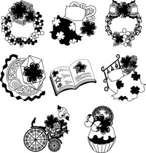 リースとベッドとクリスタルと本と自転車とケーキなどの、可愛いクローバーの雑貨のアイコンいろいろのイラスト素材 [FYI04684751]