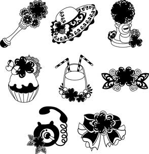 ステッキと帽子とポストとケーキとジュースとティアラと電話とリボンなどの、可愛いクローバーの雑貨のアイコンいろいろのイラスト素材 [FYI04684752]