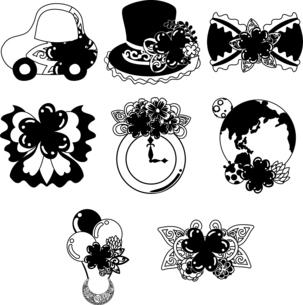 車とシルクハットとリボンと時計と地球儀と気球とティアラなどの、可愛いクローバーの雑貨のアイコンいろいろのイラスト素材 [FYI04684753]