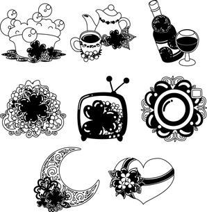 風呂とポットとお茶とワインと花束とテレビとカメラとオブジェとプレゼントなどの、可愛いクローバーの雑貨のアイコンいろいろのイラスト素材 [FYI04684754]