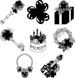 ステッキとクリスタルとプレゼントと鍵とケーキと鏡とネックレスとギターなどの、可愛いクローバーの雑貨のアイコンいろいろのイラスト素材 [FYI04684755]