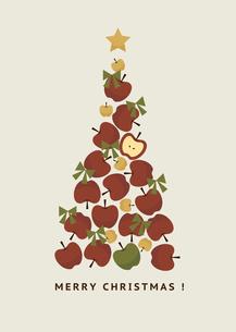リンゴのクリスマスツリーイラストのイラスト素材 [FYI04684789]