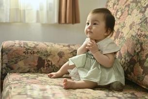 ソファーに座っている幼児の写真素材 [FYI04684958]