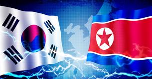 韓国と北朝鮮 政治/経済 緊張・対立 イメージバナーのイラスト素材 [FYI04685050]