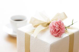 プレゼントBOXとカーネーションの写真素材 [FYI04685434]