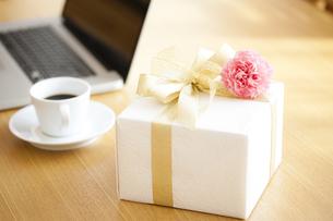 プレゼントBOXとカーネーションの写真素材 [FYI04685439]