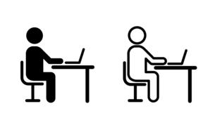 デスクとチェアと人物 アイコンのイラスト素材 [FYI04685548]