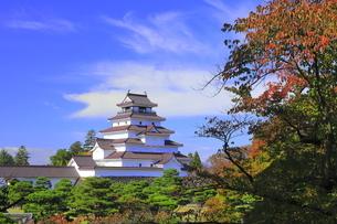 秋の会津若松城・天守の写真素材 [FYI04685686]