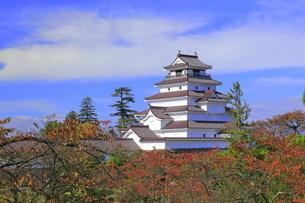 秋の会津若松城・天守の写真素材 [FYI04685687]