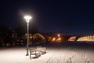 雪に覆われた冬の夜の公園のベンチの写真素材 [FYI04685759]